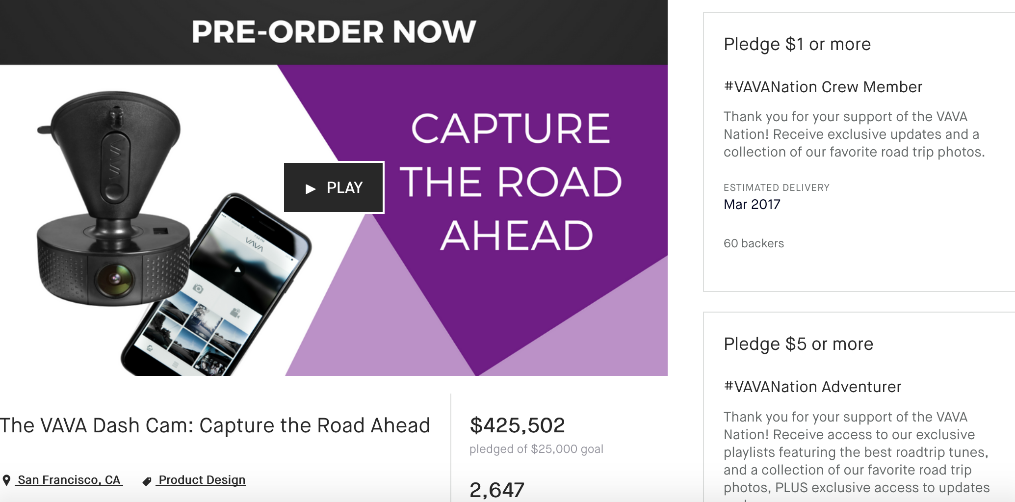 vava dash cam kickstarter amazon